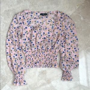 Missguided pink floral top US4